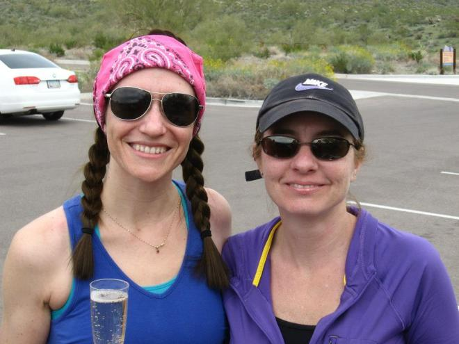 It's us! Kristina and I after hiking the 81st trail for my book...champagne in hand.