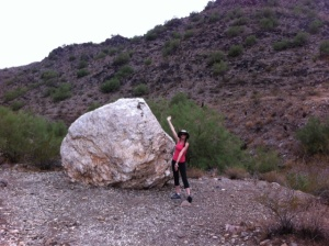 Ta-daa! That's me and a big hunk of quartz...on the Quartz Ridge Trail 8A earlier today.