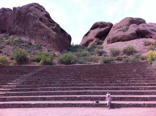 That's Mom. Dwarfed by the amphitheater in Papago Park.