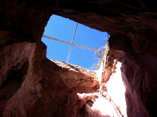 Looking up from inside the mine. Sunlight is wonderful in tight spaces!